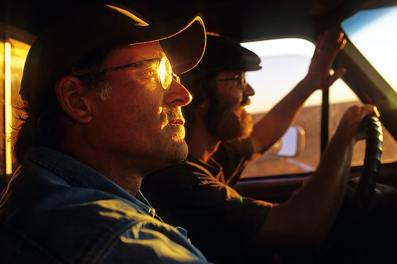 Pheasant hunters in last light of opening day, Wray, Colorado.