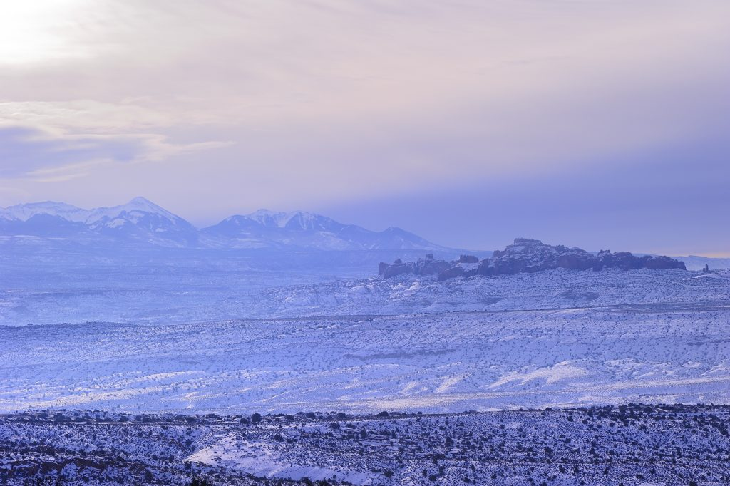 Cache Valley and La Salle Mountains, Arches National Park, Utah