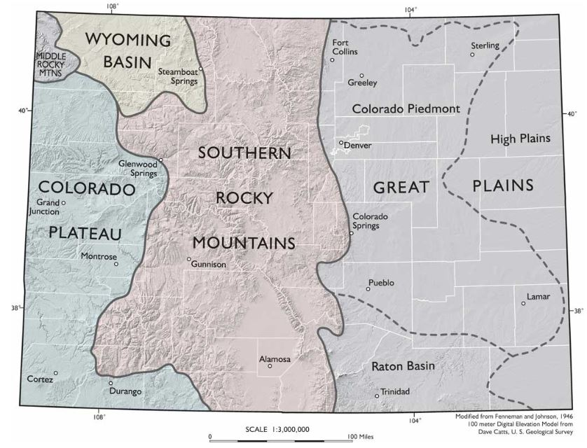Physiographic Regions of Colorado